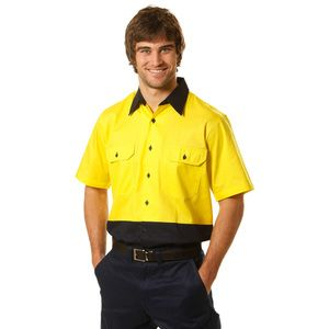 High Vis Cotton Drill Safety Shirt Thumbnail