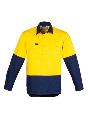 Syzmik Workwear Mens Hi Vis Closed Front L/S Shirt Thumbnail