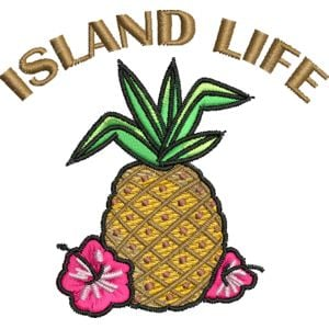 Island Life - Tropical Embroidery Design Thumbnail